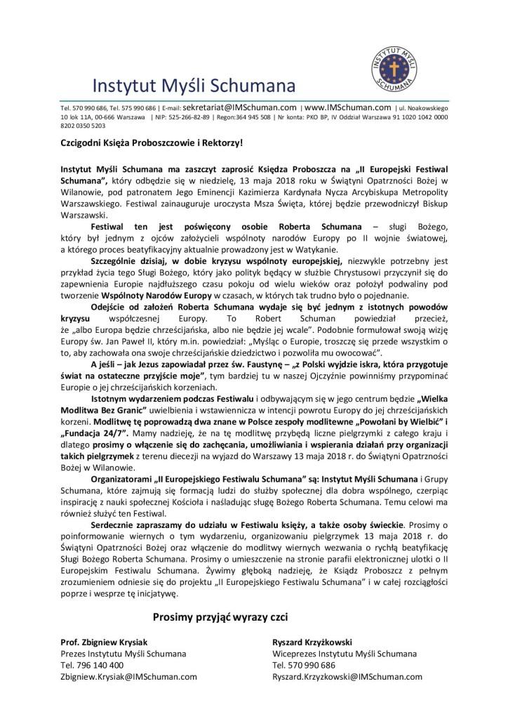 II Europejski Festiwal Schumana List doProboszcza 2018