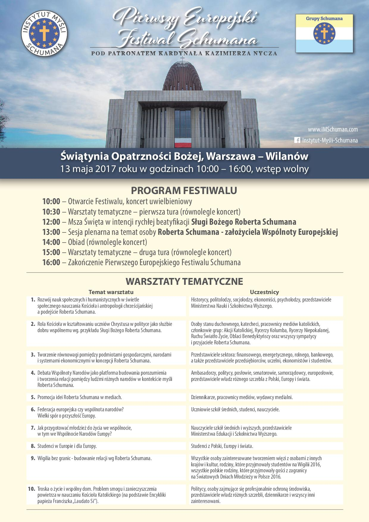 Plakat -ulotka - PIERWSZY EUROPEJSKI FESTIWAL SCHUMANA 13 maja 2017